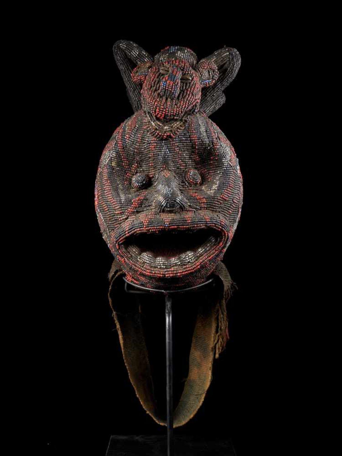 """Beaded Ceremonial Head """"Adwonzen"""" With Leopard Mount, Grassland People, Cameroon - Tribal - Bild 2 aus 5"""