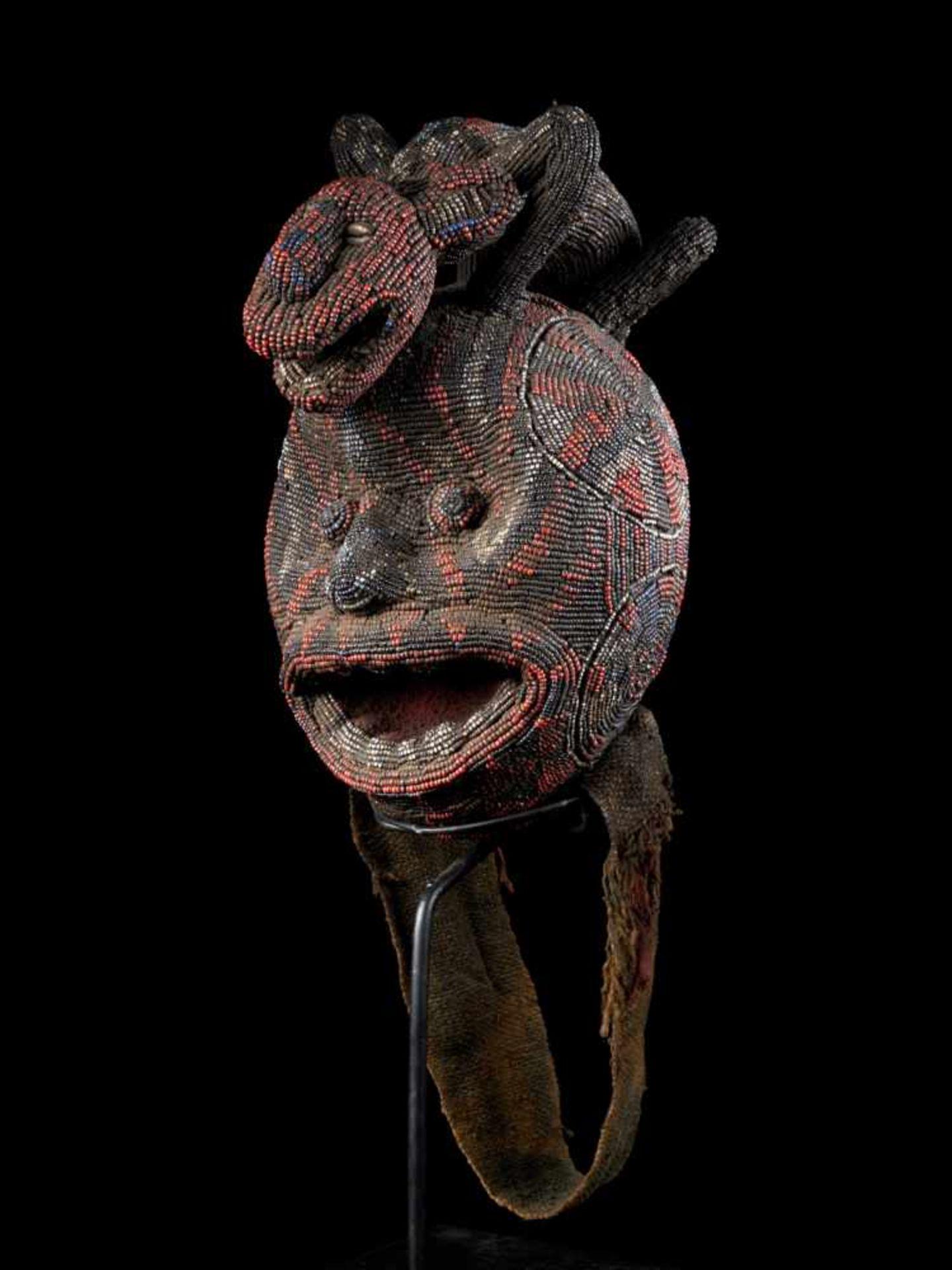 """Beaded Ceremonial Head """"Adwonzen"""" With Leopard Mount, Grassland People, Cameroon - Tribal"""