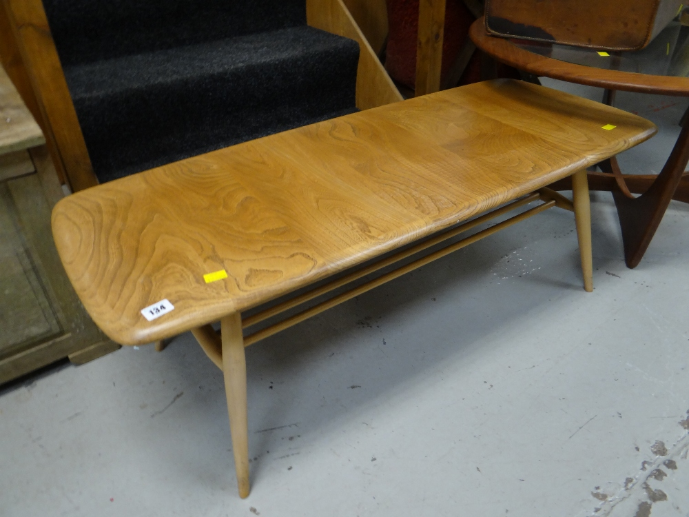 Lot 134 An Ercol Blonde Wood Long John Coffee Table With Lower Shelf