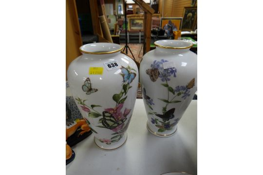 A Pair Of Franklin Mint John Wilkinson Butterfly Vases