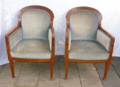 Paar elegante Jugendstilsessel. Um 1900. H. je ca. 94 cm.Pair of elegant art nouveau chairs.