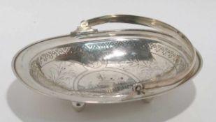 Henkelschale Moskau, um 1888, Israel Eseevich Zakhoder. Silber. Ovale Schale auf vier Kugelfüßen.