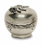 Dose 20. Jh. Silber. Runde Dose mit aufgelegtem Blütenzweig als Deckelknauf und zwei