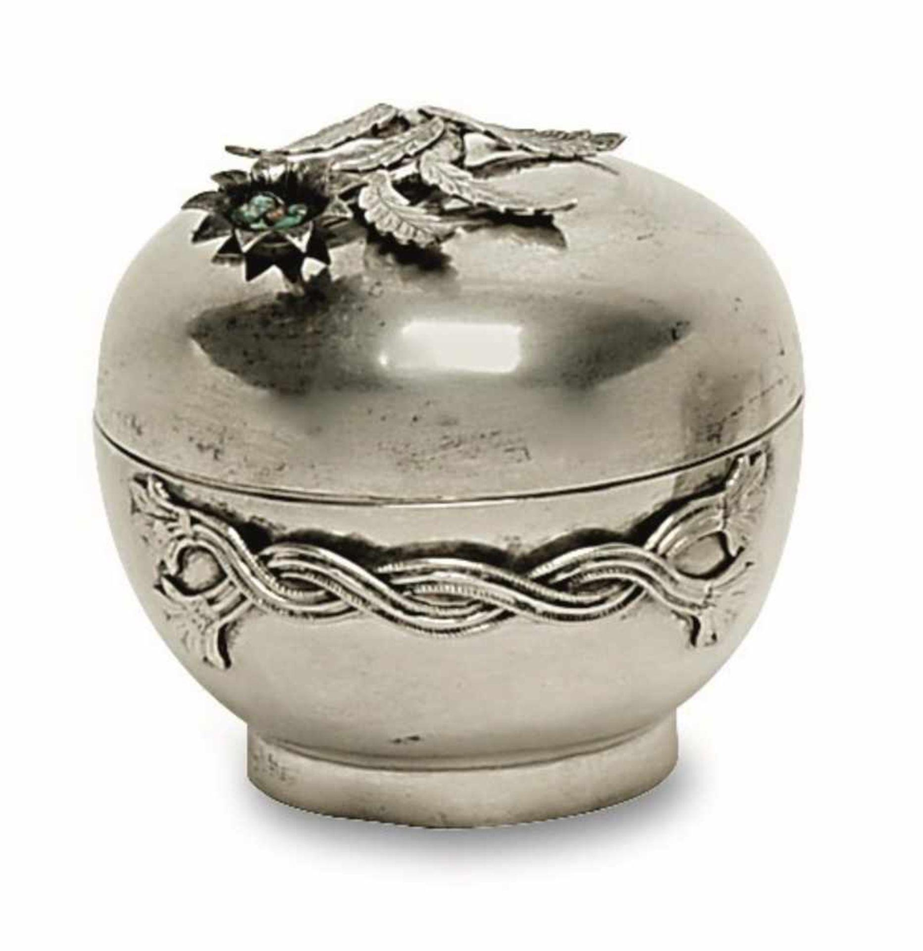 Los 23 - Dose 20. Jh. Silber. Runde Dose mit aufgelegtem Blütenzweig als Deckelknauf und zwei