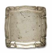 Gebäckschale Bremen, Wilkens Silber. Quadratisch, geschweift gerippt. Marken (800). 16 x 16 cm.