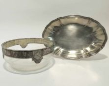 Schale / Glasschale Deutsch (u.a. Heilbronn, Bruckmann & Söhne). Ovale Silberschale mit profiliertem