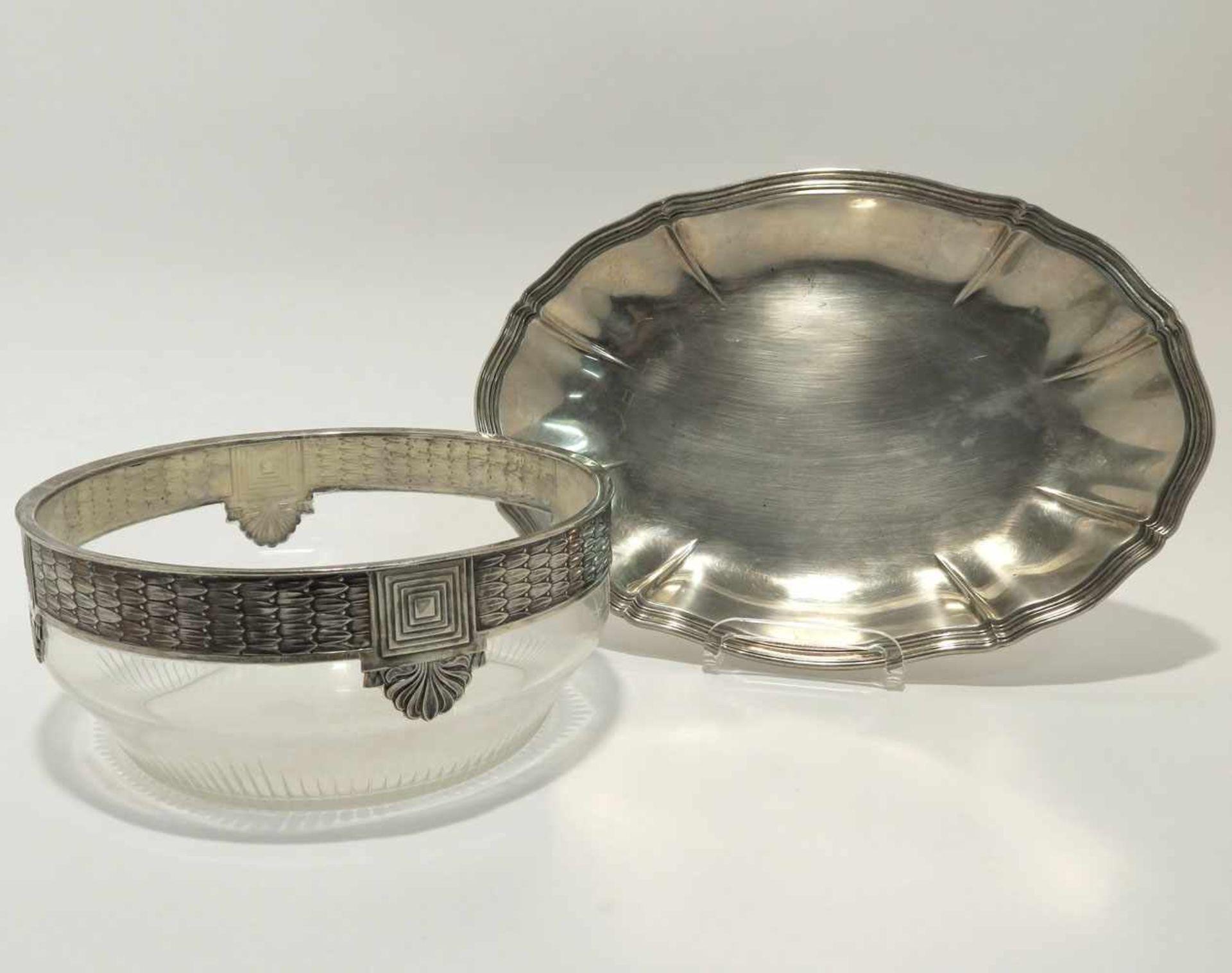 Los 29 - Schale / Glasschale Deutsch (u.a. Heilbronn, Bruckmann & Söhne). Ovale Silberschale mit profiliertem