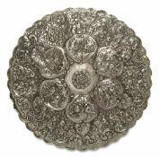 Spiegel Türkei, 1. Hälfte 20. Jh. Silber. Getriebener, ziselierter und punzierter floraler Dekor.