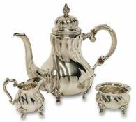 Kaffeekanne / Sahnekännchen und Zuckerschale u.a. Schwäbisch Gmünd, Wilhelm Binder Silber.