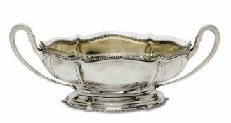Schale mit Glaseinsatz Schwäbisch Gmünd, Wilhelm Binder Silber, innen vergoldet. Spitzovale,