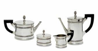Kaffeeservice, 4tlg. Schwäbisch Gmünd, Wilhelm Binder Silber. Ovalzylindrische Form mit je zwei