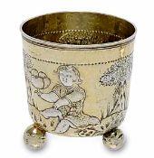Kugelfußbecher Nürnberg, 1665 - 1669, Hieronymus Peller Silber, teilvergoldet, getrieben,