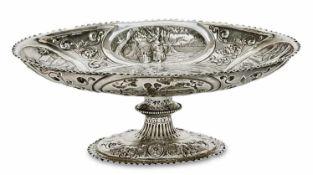 Fußschale London, 1799/1800, wohl George Smith IV Silber. Ovale Schale mit gekniffenem Rand auf