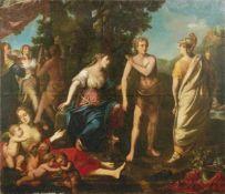 Herakles am Scheideweg Römische Schule, E. 17. Jh. Öl/Lwd., doubl. 185 x 212 cm; unger. -