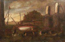Tassi, Agostino - in der Art von Großes Marinebild mit Personen und Architekturcapriccio (Rom 1578-