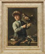 Pee, Theodor van Jäger mit Falke (Amsterdam 1668/1669-1746 Den Haag) Öl/Holz. Rechts unten sign. und