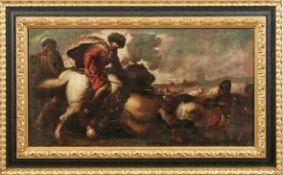 Zwei Bataillenszenen Neapolitanischer Maler des 17. Jahrhunderts Öl/Lwd., doubl. 49,5 x 95 cm. - Die