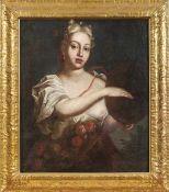 Junge Frau mit Tamburin Deutschland, 18. Jh. Öl/Lwd., doubl. 81,5 x 69 cm. Altmeistergemälde,