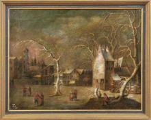 Heil, Daniel van - Nachfolger Winterliche Stadt mit Personen (Brüssel 1604-1664 ebd.) Öl/Lwd.,