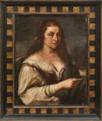 Bildnis einer Italienerin Wohl Trentino, 17. Jh. Öl/Lwd., doubl. 68 x 54 cm. - Dieses Los wurde