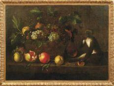 Früchtestillleben mit Affen Italien, 17. Jh. - Umkreis des Pietro Paolo Bonzi Reich mit Trauben,