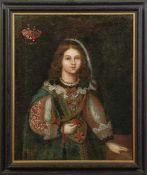 Portraitmaler des 17. Jahrhunderts Bildnis einer jungen, vornehmen Frau Links oben Wappen der
