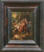 Judaskuss Flämische Schule des 18. Jahrhunderts Öl/Eisenblech. Ca. 24,3 x 19 cm.