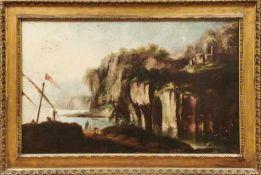 Felsige Meeresbucht mit Anglern Italienischer Landschaftsmaler des 18. Jahrhunderts Öl/Lwd. 91 x 149
