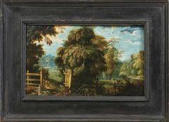 """Zwei kleine Landschaftsbilder Niederlande, 17. Jh. Öl/Kupfer. Verso Sammlungsnummern """"186"""" bzw. """""""