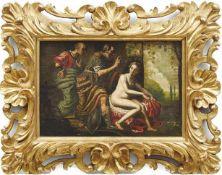 Flämische Schule des 17. Jahrhunderts Susanna und die beiden Alten Öl/Kupfer. 31,5 x 45,5 cm.-