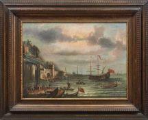 Grevenbroeck, Jan, gen. Il Solfarolo (Attrib.) Belebter Hafen einer befestigten, italienischen Stadt