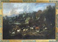 Neapolitanischer Maler des frühen 18. Jahrhunderts An einem Flussufer rastende Hirten mit ihren