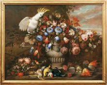 Großes Blumenstillleben mit Kakadu Italien, wohl neapolitanische Schule, um 1720-40 Waldboden,
