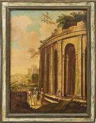 Architekturlandschaft mit Ruinen und Personengruppen Italien, 18. Jh. Öl/Lwd. 98,5 x 73 cm. -