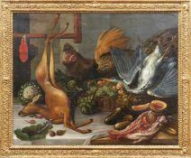 Großes Küchenstillleben Flämische Schule, 17. Jh. - Kreis des Frans Snyders Üppig gedeckter Tisch