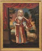 Bildnis eines vornehmen Mädchens mit Lamm und Vogel Süddeutschland od. Wien, 18. Jh. Öl/Lwd., doubl.