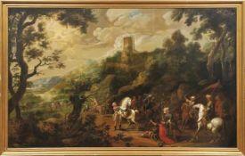 Monumentales Bild mit der Bekehrung des Paulus vor Damaskus Flandern, E. 17. Jh. Vielfigurige