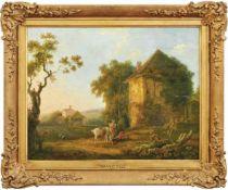 Frühromantiker um 1800 Landschaft mit Hirten und rastendem Reiter Öl/Lwd. 46 x 59 cm. - Kratzer