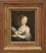 Venezianische Schule - in der Art der Rosalba Carriera Junge Dame mit Taube Öl/Holz. 20,5 x 16 cm;