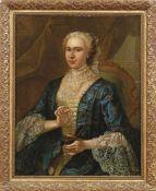 Bildnis einer vornehmen Dame mit Tabatière Frankreich, 18. Jh. Vor Draperie in mit Spitzen besetztem