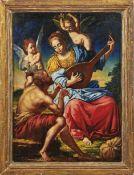 Allegorie der Musik Italien, 18. Jh. In Landschaft sitzende, weibliche Gestalt mit Laute, wohl die