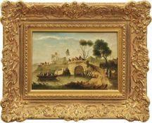 Frühromantiker des ausgehenden 18. Jahrhunderts Flusslandschaft mit Anglern Öl/Holz. 18,5 x 26 cm.