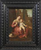 Die heilige Familie Schule von Parma, 17./18. Jh. Zentral vor Stadtkulisse sitzende Maria mit dem
