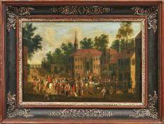 Flämische Schule des 18. Jahrhunderts Vielfiguriges Treiben auf einem Kirchplatz Öl/