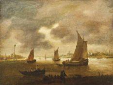 Küstenlandschaft mit Fischerbooten Haarlemer Schule, 17. Jh. Öl/Holz, parkettiert. 48 x 64 cm;
