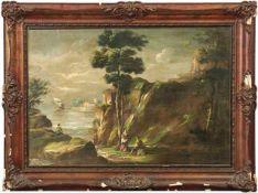 Italienischer Landschaftsmaler des 19. Jahrhunderts Felsige Meeresbucht mit Personen Öl/Lwd. 70,5