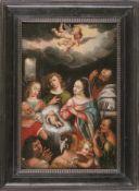 Anbetung des Jesuskindes durch die Hirten Deutscher Manierist, um 1600 Das Kind in der Krippe