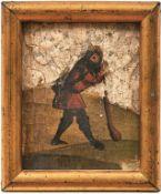 Kleines gotisches Tafelbild eines Hirten mit Keule in Landschaft Wohl Franken, um 1510 Öl/Holz mit