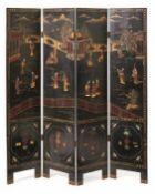 Vierteiliger Koromandel-Stellschirm China, um 1900 Die Schauseiten mit figurenstaffierter