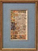 Zwei Seiten aus einem Stundenbuch Frankreich, um 1450 Lateinische Handschrift mit Miniaturmalerei